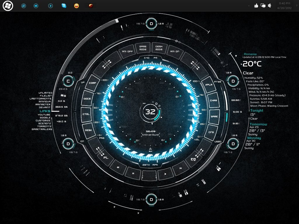 Rainmeter skins and themes